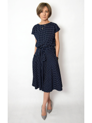 LUCY - Midi Flared cotton dress - navy blue in polka dots