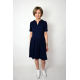 PAMELA - cotton dress cut at the waist - navy blue