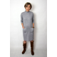 LOUISE - viscose dress with stand-up collar - gray