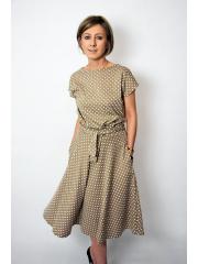 LUCY - Midi Ausgestelltes Kleid gestrickt - mokka in Tupfen