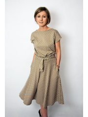 LUCY - Midi Flared cotton dress - mocha in polka dots