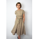 LUCY - Midi Flared cotton dress - mocha in polka dots