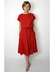 LUCY - Midi Flared cotton dress - red