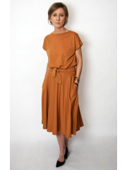LUCY - Midi Flared cotton dress - caramel