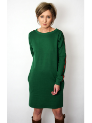 PATH - cotton dress with colorful stripes - green