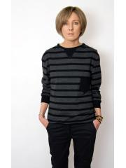 PAUL - cotton sweatshirt with a pocket - chocolate