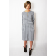 ALISON - midi dress with buttons in gray and white stripes