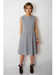sukienka CLARICE - szaro-białe paski