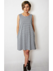 TULA - cotton mini dress with pockets in gray and white stripes
