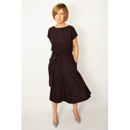 Midi Kleid LUCY gestrickt Schokoladen Ausgestelltes Sisters Nk8nw0PXO
