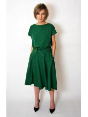LUCY - Midi Flared cotton dress - green