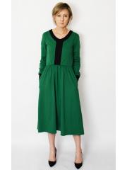 PURO - cotton midi dress - green