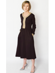 PURO - cotton midi dress - chocolate