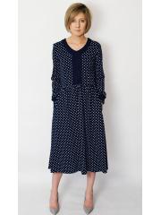 PURO - cotton midi dress - navy blue polka dots