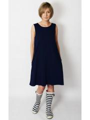 TULA - cotton mini dress with pockets - navy blue in polka dots