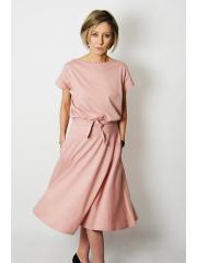 LUCY - Midi Ausgestelltes Kleid gestrickt - schmutziges Rosa