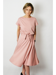 LUCY - Midi Flared cotton dress - dirty pink