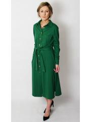 CAROLINE - unbuttoned dress with belt - green