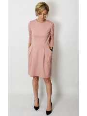RITA - COTTON DRESS CUTTED IN BELT WITH POCKETS - dirty pink