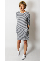 sukienka NOLY - sz/b paski