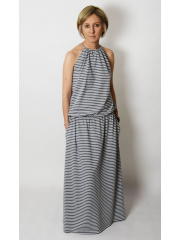 AMIRA - Maxi / long cotton dress - gray and white stripes