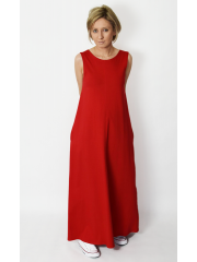 FEEL - cotton maxi dress with pockets - red