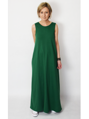 FEEL - cotton maxi dress with pockets - green