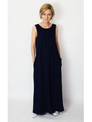 FEEL - cotton maxi dress with pockets - navy blue