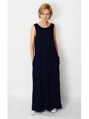 FEEL - Maxikleid aus Baumwolle mit Taschen - marineblau