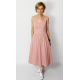 MEGAN - midi dress with straps - dirty pink