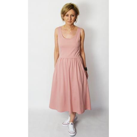 MEGAN - midi dress with straps - dirty pink