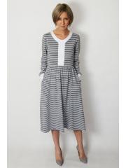 PURO - cotton midi dress - gray and white stripes