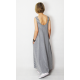 FEEL - cotton maxi dress with pockets - gray and white stripes