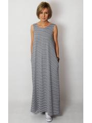 FEEL - Maxikleid aus Baumwolle mit Taschen - graue und weiße Streifen
