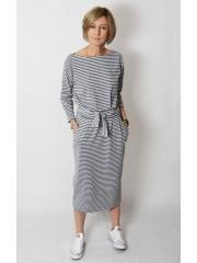 NINA - Baumwoll kleider maxi - graue und weiße Streifen
