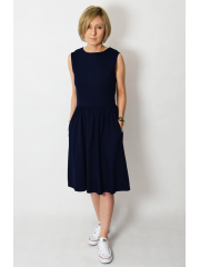CLARICE - midi dress with buttons in navy blue
