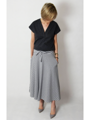 KLAUDIA - cotton SKIRT FROM THE WHEEL 7/8 - gray and white stripes