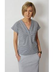 VIVO - t-shirt with v-neckline - gray and white stripes