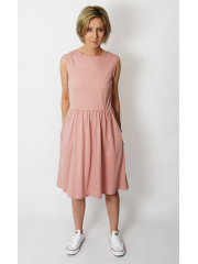CLARICE - midi dress with buttons - dirty pink
