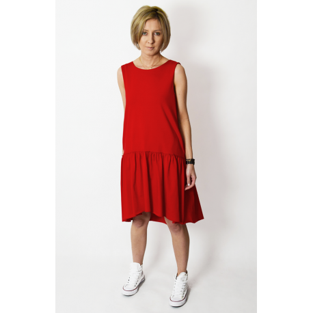 GINA - mini dress with a frill - red
