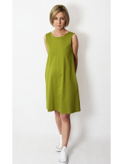 TULA - cotton mini dress with pockets - olive