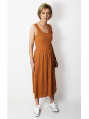 MEGAN - midi dress with straps - caramel