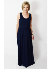 MEGAN - maxi dress with straps - navy blue
