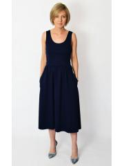 MEGAN - midi dress with straps - navy blue