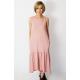 KATIA - cotton midi dress with a frill - dirty pink