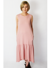 KATIA - cotton midi dress with a frill - dirty pink