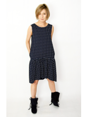 GINA - mini dress with a frill - navy blue in polka dots