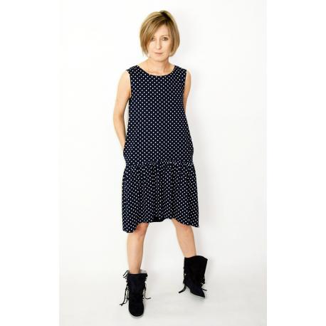 sukienka GINA - groszki granat