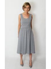 MEGAN - midi dress with straps - gray and white stripes