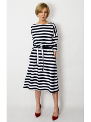 ROSE - cotton dress with belt - white and navy blue stripes
